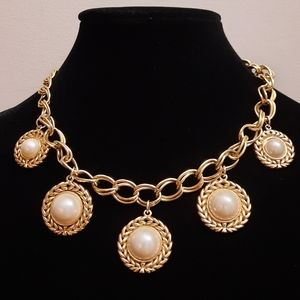 A.S. signed gold tone faux pearl chunky necklace